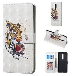 Toothed Tiger 3D Painted Leather Phone Wallet Case for Xiaomi Redmi K20 / K20 Pro