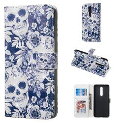 Skull Flower 3D Painted Leather Phone Wallet Case for Xiaomi Redmi K20 / K20 Pro