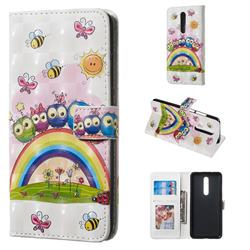 Rainbow Owl Family 3D Painted Leather Phone Wallet Case for Xiaomi Redmi K20 / K20 Pro