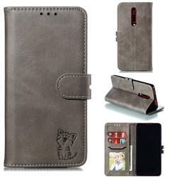 Embossing Happy Cat Leather Wallet Case for Xiaomi Redmi K20 / K20 Pro - Gray
