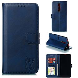 Embossing Happy Cat Leather Wallet Case for Xiaomi Redmi K20 / K20 Pro - Blue
