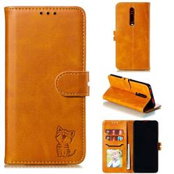 Embossing Happy Cat Leather Wallet Case for Xiaomi Redmi K20 / K20 Pro - Yellow