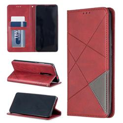 Prismatic Slim Magnetic Sucking Stitching Wallet Flip Cover for Xiaomi Redmi K20 / K20 Pro - Red
