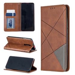 Prismatic Slim Magnetic Sucking Stitching Wallet Flip Cover for Xiaomi Redmi K20 / K20 Pro - Brown