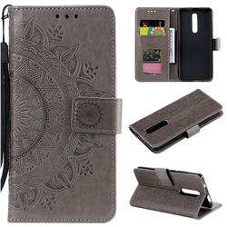 Intricate Embossing Datura Leather Wallet Case for Xiaomi Redmi K20 / K20 Pro - Gray