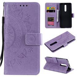 Intricate Embossing Datura Leather Wallet Case for Xiaomi Redmi K20 / K20 Pro - Purple