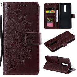 Intricate Embossing Datura Leather Wallet Case for Xiaomi Redmi K20 / K20 Pro - Brown