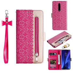 Luxury Lace Zipper Stitching Leather Phone Wallet Case for Xiaomi Redmi K20 / K20 Pro - Rose