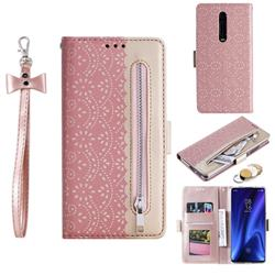 Luxury Lace Zipper Stitching Leather Phone Wallet Case for Xiaomi Redmi K20 / K20 Pro - Pink