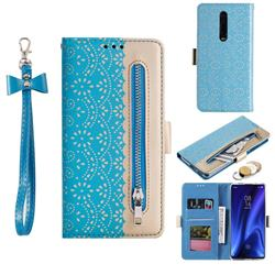 Luxury Lace Zipper Stitching Leather Phone Wallet Case for Xiaomi Redmi K20 / K20 Pro - Blue
