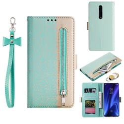 Luxury Lace Zipper Stitching Leather Phone Wallet Case for Xiaomi Redmi K20 / K20 Pro - Green