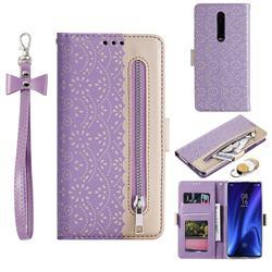 Luxury Lace Zipper Stitching Leather Phone Wallet Case for Xiaomi Redmi K20 / K20 Pro - Purple
