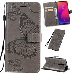 Embossing 3D Butterfly Leather Wallet Case for Xiaomi Redmi K20 / K20 Pro - Gray