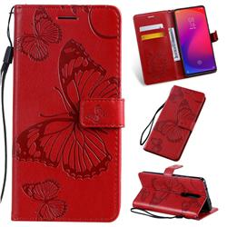 Embossing 3D Butterfly Leather Wallet Case for Xiaomi Redmi K20 / K20 Pro - Red