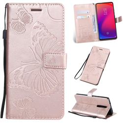 Embossing 3D Butterfly Leather Wallet Case for Xiaomi Redmi K20 / K20 Pro - Rose Gold