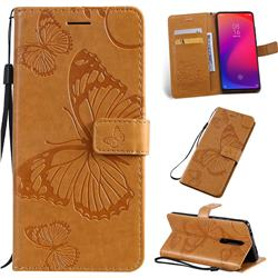 Embossing 3D Butterfly Leather Wallet Case for Xiaomi Redmi K20 / K20 Pro - Yellow
