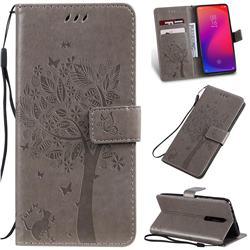 Embossing Butterfly Tree Leather Wallet Case for Xiaomi Redmi K20 / K20 Pro - Grey