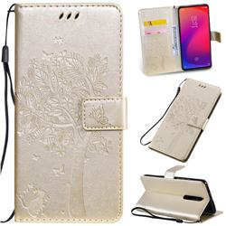 Embossing Butterfly Tree Leather Wallet Case for Xiaomi Redmi K20 / K20 Pro - Champagne