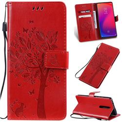 Embossing Butterfly Tree Leather Wallet Case for Xiaomi Redmi K20 / K20 Pro - Red