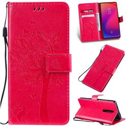 Embossing Butterfly Tree Leather Wallet Case for Xiaomi Redmi K20 / K20 Pro - Rose