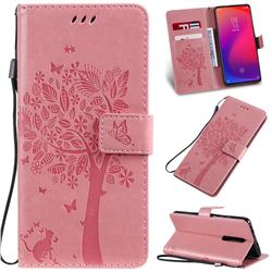 Embossing Butterfly Tree Leather Wallet Case for Xiaomi Redmi K20 / K20 Pro - Pink