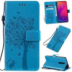 Embossing Butterfly Tree Leather Wallet Case for Xiaomi Redmi K20 / K20 Pro - Blue