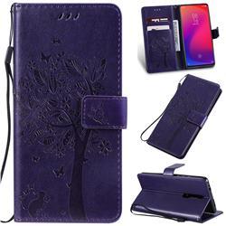Embossing Butterfly Tree Leather Wallet Case for Xiaomi Redmi K20 / K20 Pro - Purple