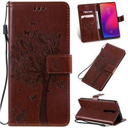 Embossing Butterfly Tree Leather Wallet Case for Xiaomi Redmi K20 / K20 Pro - Coffee