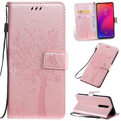 Embossing Butterfly Tree Leather Wallet Case for Xiaomi Redmi K20 / K20 Pro - Rose Pink