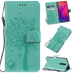 Embossing Butterfly Tree Leather Wallet Case for Xiaomi Redmi K20 / K20 Pro - Cyan