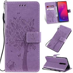 Embossing Butterfly Tree Leather Wallet Case for Xiaomi Redmi K20 / K20 Pro - Violet