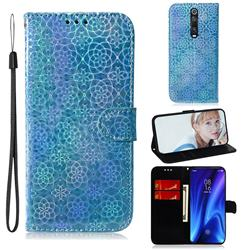 Laser Circle Shining Leather Wallet Phone Case for Xiaomi Redmi K20 / K20 Pro - Blue