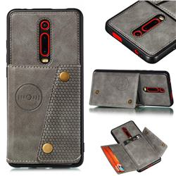 Retro Multifunction Card Slots Stand Leather Coated Phone Back Cover for Xiaomi Redmi K20 / K20 Pro - Gray