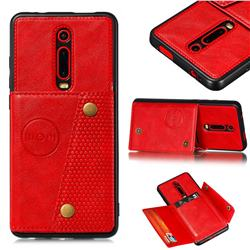 Retro Multifunction Card Slots Stand Leather Coated Phone Back Cover for Xiaomi Redmi K20 / K20 Pro - Red