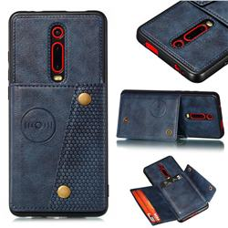 Retro Multifunction Card Slots Stand Leather Coated Phone Back Cover for Xiaomi Redmi K20 / K20 Pro - Blue
