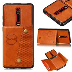 Retro Multifunction Card Slots Stand Leather Coated Phone Back Cover for Xiaomi Redmi K20 / K20 Pro - Brown