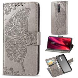 Embossing Mandala Flower Butterfly Leather Wallet Case for Xiaomi Redmi K20 / K20 Pro - Gray