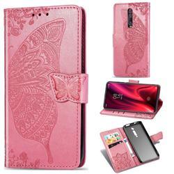Embossing Mandala Flower Butterfly Leather Wallet Case for Xiaomi Redmi K20 / K20 Pro - Pink