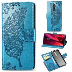 Embossing Mandala Flower Butterfly Leather Wallet Case for Xiaomi Redmi K20 / K20 Pro - Blue