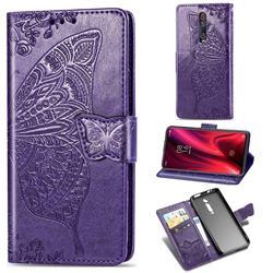 Embossing Mandala Flower Butterfly Leather Wallet Case for Xiaomi Redmi K20 / K20 Pro - Dark Purple