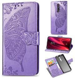 Embossing Mandala Flower Butterfly Leather Wallet Case for Xiaomi Redmi K20 / K20 Pro - Light Purple