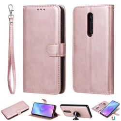 Retro Greek Detachable Magnetic PU Leather Wallet Phone Case for Xiaomi Redmi K20 / K20 Pro - Rose Gold