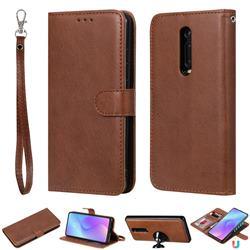 Retro Greek Detachable Magnetic PU Leather Wallet Phone Case for Xiaomi Redmi K20 / K20 Pro - Brown