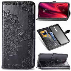 Embossing Imprint Mandala Flower Leather Wallet Case for Xiaomi Redmi K20 / K20 Pro - Black
