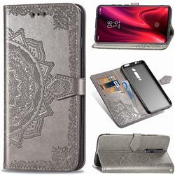 Embossing Imprint Mandala Flower Leather Wallet Case for Xiaomi Redmi K20 / K20 Pro - Gray