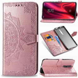 Embossing Imprint Mandala Flower Leather Wallet Case for Xiaomi Redmi K20 / K20 Pro - Rose Gold