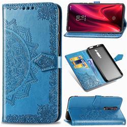 Embossing Imprint Mandala Flower Leather Wallet Case for Xiaomi Redmi K20 / K20 Pro - Blue