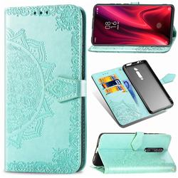 Embossing Imprint Mandala Flower Leather Wallet Case for Xiaomi Redmi K20 / K20 Pro - Green