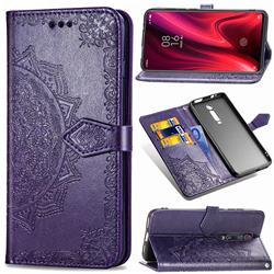 Embossing Imprint Mandala Flower Leather Wallet Case for Xiaomi Redmi K20 / K20 Pro - Purple
