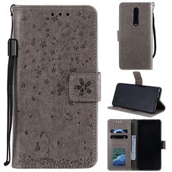 Embossing Cherry Blossom Cat Leather Wallet Case for Xiaomi Redmi K20 / K20 Pro - Gray
